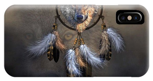 Native American Spirit Portrait iPhone Case -  Wolf Spirit Dream Catcher by G Berry