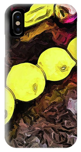 The Yellow Lemons In A Row And The Pink Apple IPhone Case