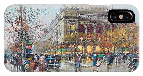 Trolley Car iPhone Case - Theatre Du Chatelet by Eugene Galien-Laloue