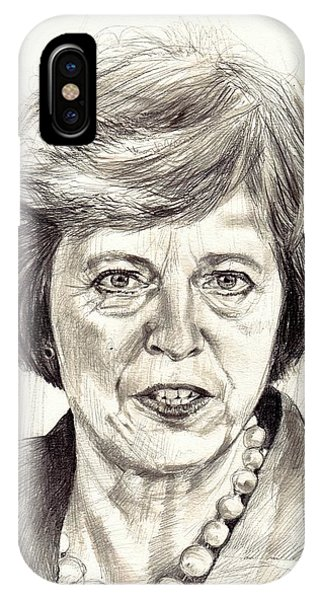Cities iPhone Case - Theresa May Portrait by Suzann's Art