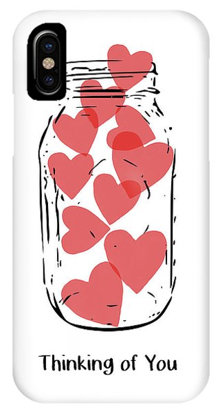 Hearts iPhone Case - Thinking Of You Jar Of Hearts- Art By Linda Woods by Linda Woods