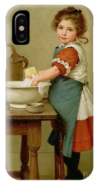 Girls iPhone Case - This Is The Way We Wash Our Clothes  by George Dunlop Leslie