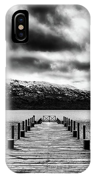 Landscape With Lake And Snowy Mountains In The Argentine Patagonia - Black And White IPhone Case