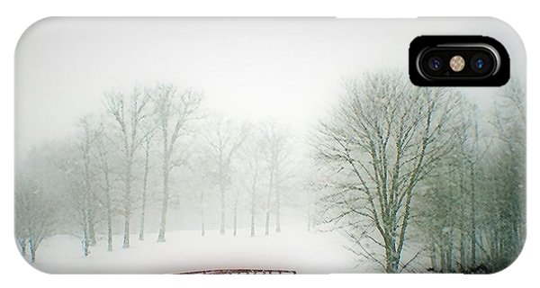 This Small Bridge, Located On A Golf Course, Always Provides A Scenic View. When A December Blizzard IPhone Case