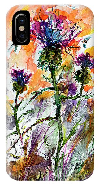 Thistles And Bees Watercolor And Ink IPhone Case