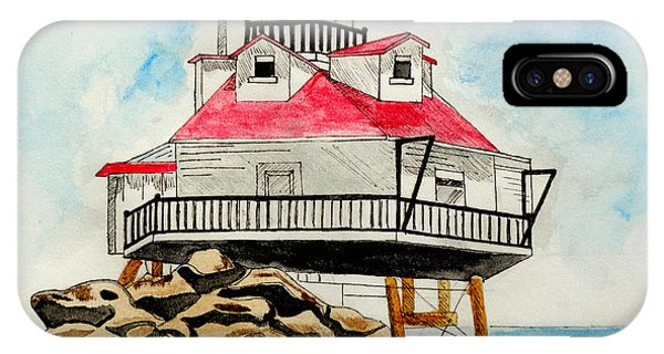 Pylon iPhone Case - Thomas Point Lighthouse by Christopher Spicer