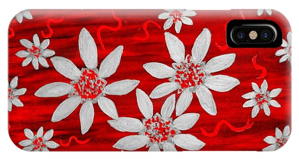 Three And Twenty Flowers On Red IPhone Case