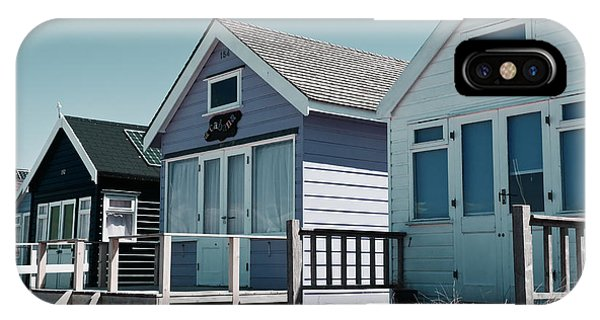Three Beach Huts Blue IPhone Case