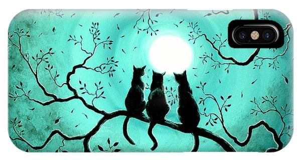 Monochrome iPhone Case - Three Black Cats Under A Full Moon by Laura Iverson