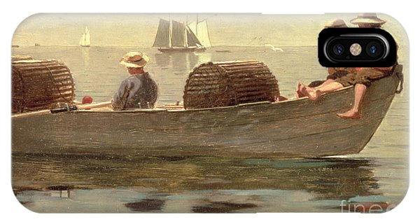 Docked Boats iPhone Case - Three Boys In A Dory by Winslow Homer
