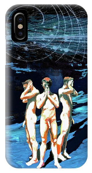 IPhone Case featuring the painting Three Boys, Hear No Evil, Speak No Evil, See No Evil by Rene Capone