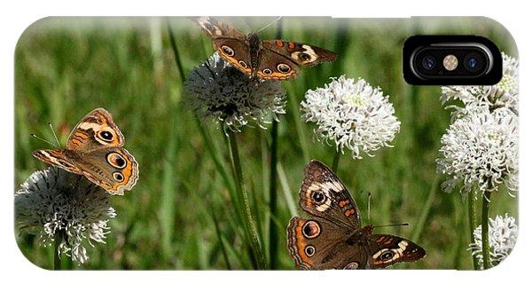 Three Buckeye Butterflies On Wildflowers IPhone Case