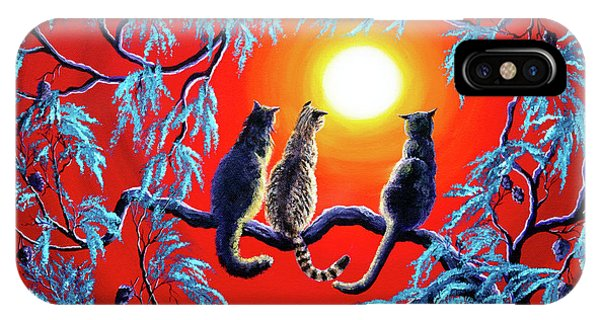 Three Cats In A Bright Red Sunset IPhone Case