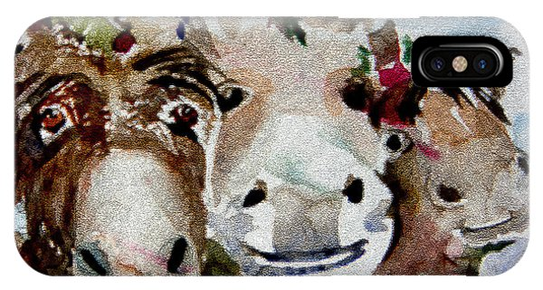 Three Christmas Donkeys IPhone Case