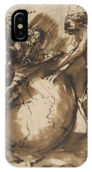 Rosa iPhone Case - Three Figures Around A Globe by Salvator Rosa