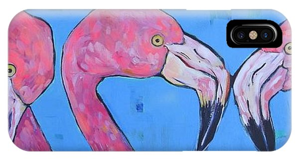 iPhone Case - Three Flamingos by Arrin Burgand