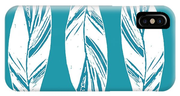 Three Ginger Leaves - Teal IPhone Case