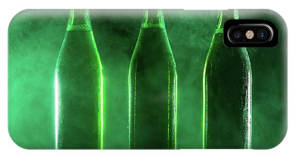 St. Patricks Day iPhone Case - Three Green Beer Bottles On A Dusty Background. by Michal Bednarek