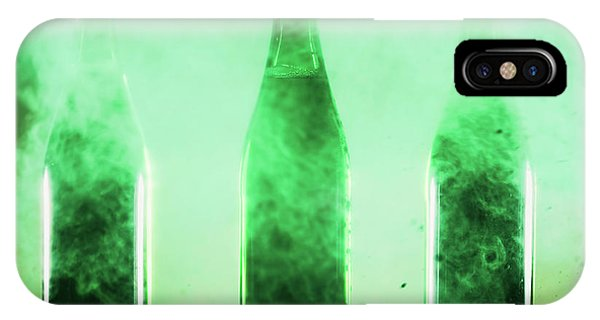 St. Patricks Day iPhone Case - Three Green Bottles Standing In A Green Dust. by Michal Bednarek