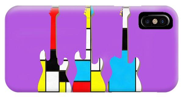 Guitar iPhone Case - Three Guitars Modern Tee by Edward Fielding