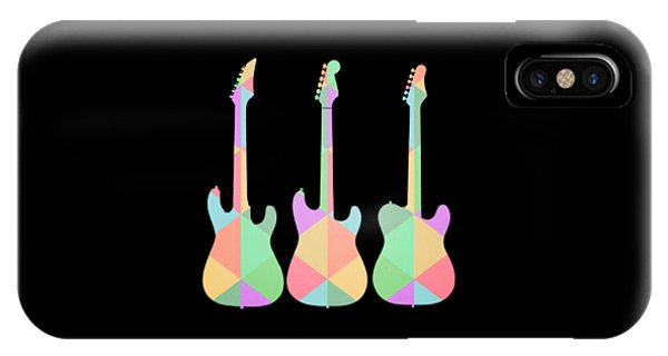 Guitar iPhone Case - Three Guitars Triangles Tee by Edward Fielding