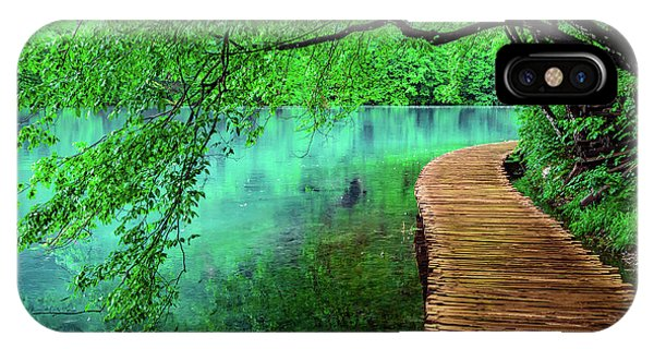 Tree Hanging Over Turquoise Lakes, Plitvice Lakes National Park, Croatia IPhone Case