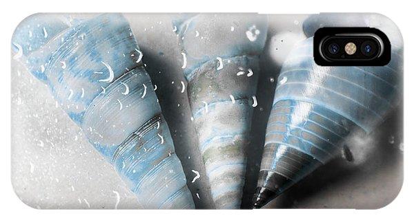 Aqua iPhone Case - Three Little Trumpet Snail Shells Over Gray by Jorgo Photography - Wall Art Gallery