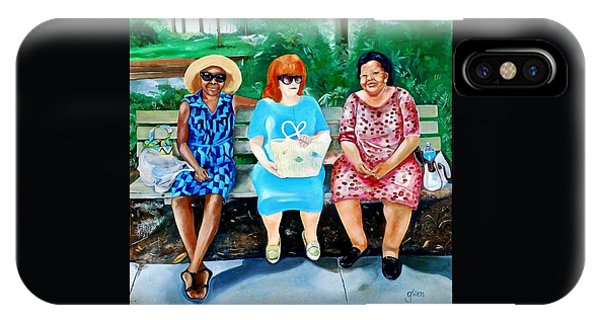 Three On A Bench IPhone Case
