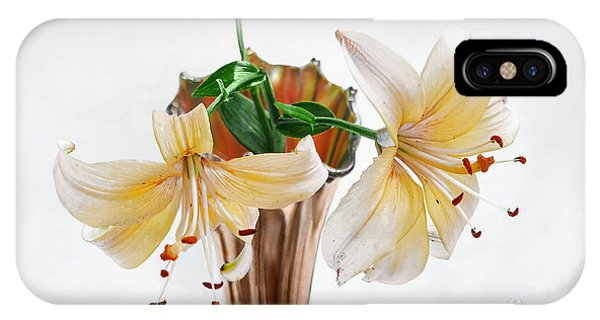Three Pale Gold Lilies Still Life IPhone Case