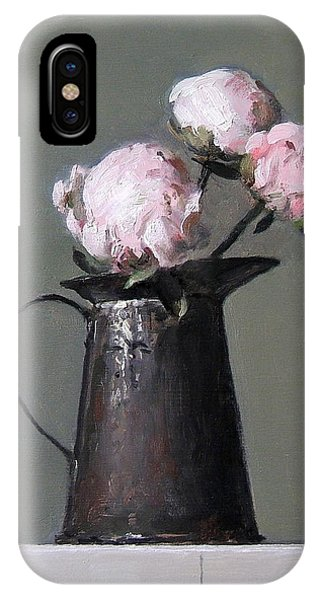 Three Peony Buds In Old Tin Can IPhone Case