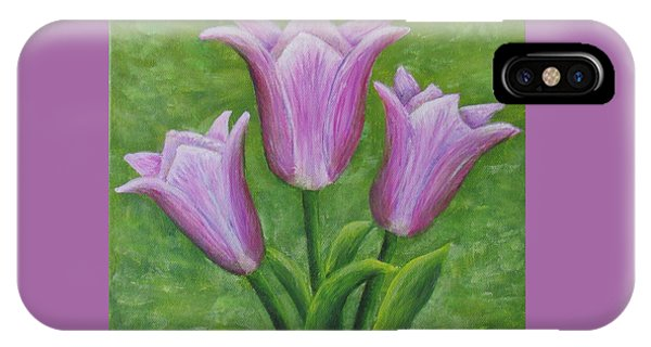 IPhone Case featuring the painting Three Pink Tulips by Nancy Nale