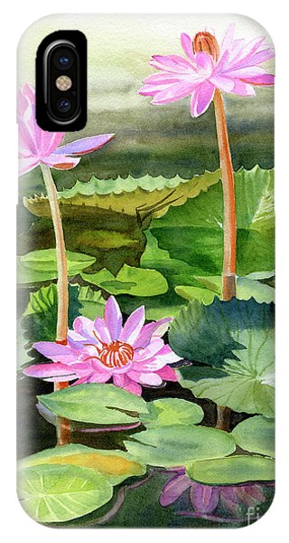 Lily iPhone Case - Three Pink Water Lilies With Pads by Sharon Freeman