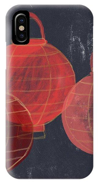 Three Red Lanterns- Art By Linda Woods IPhone Case