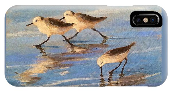 Three Sandpipers Phone Case by Tina Obrien