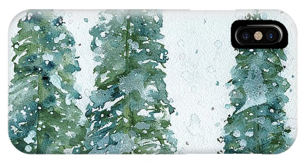 Christmas Tree iPhone Case - Three Snowy Spruce Trees by Dawn Derman