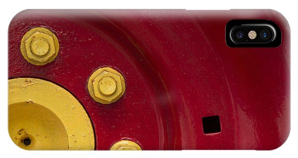 Three Yellow Nuts On A Red Wheel IPhone Case