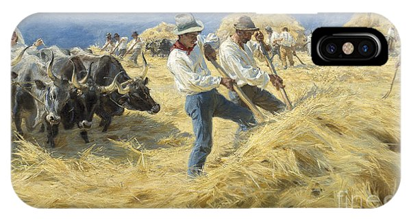 Plowing iPhone Case - Threshing In The Abruzzi, 1890 by Peder Severin Kroyer