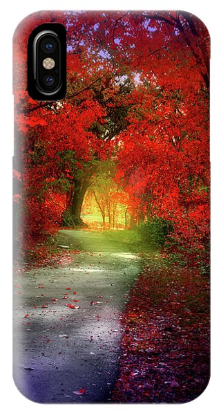 Through The Crimson Leaves To A Golden Beginning IPhone Case