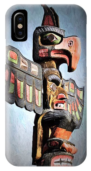 Thunderbird Totem Pole - Thunderbird Park, Victoria, British Columbia IPhone Case
