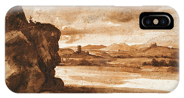 Baroque iPhone Case - Tiber Landscape North Of Rome With Dark Cloudy Sky by Claude Lorrain