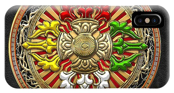 Religious iPhone Case - Tibetan Double Dorje Mandala by Serge Averbukh