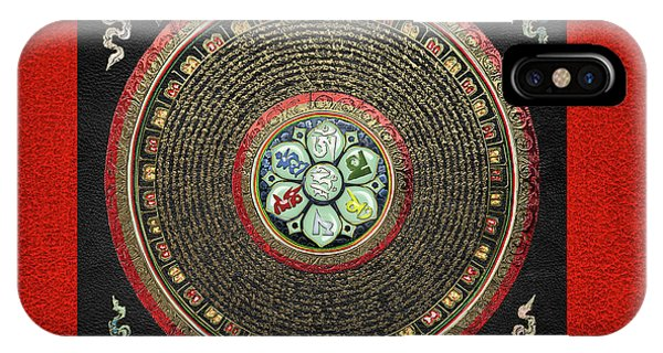 Tibetan Om Mantra Mandala In Gold On Black And Red IPhone Case