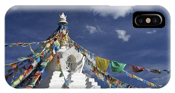 Tibetan Stupa With Prayer Flags IPhone Case