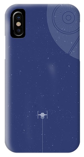 Space Ships iPhone Case - Tie Fighter Defends The Death Star by Samuel Whitton