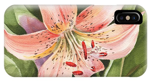 Lily iPhone X Case - Tiger Lily Watercolor By Irina Sztukowski by Irina Sztukowski