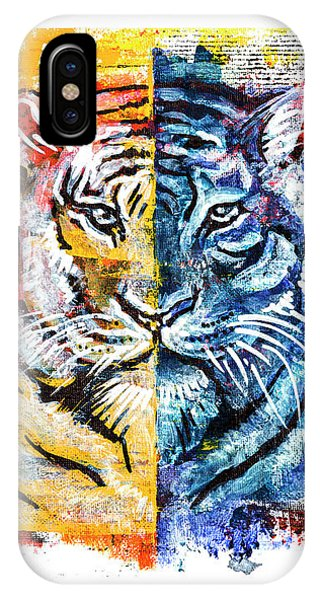 IPhone Case featuring the painting Tiger, Original Acrylic Painting by Ariadna De Raadt