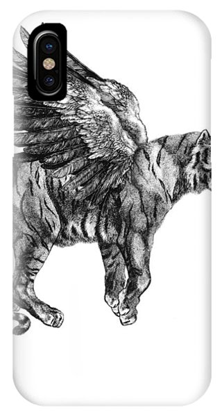 Wings iPhone Case - Tiger With Wings, Black And White Illustration by Madame Memento