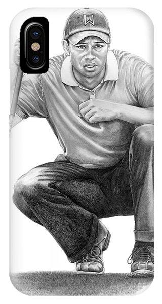Golf iPhone Case -  Tiger Woods Crouching Tiger by Murphy Elliott