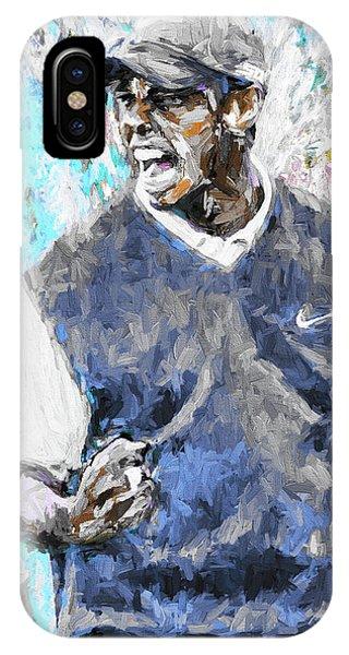Tiger Woods One Blue Golfer Digital Art IPhone Case
