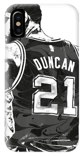 Tickets iPhone Case - Tim Duncan San Antonio Spurs Pixel Art 2 by Joe Hamilton